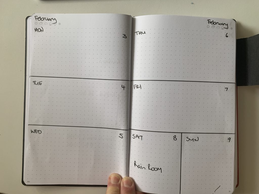 Weekly 2 page layout for Bullet Journal to do lists